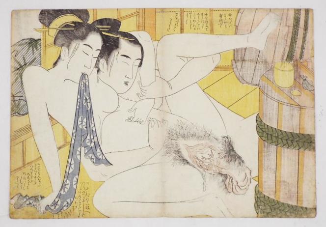 Scène au bain signée Eiri. Sur le baquet en bois, du lubrifiant et dans le petit sac en toile, probablement des pilules aphrodisiaques.