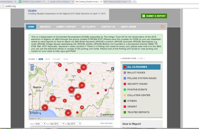 Carte des alertes lors des élections locales du 11 avril 2015.