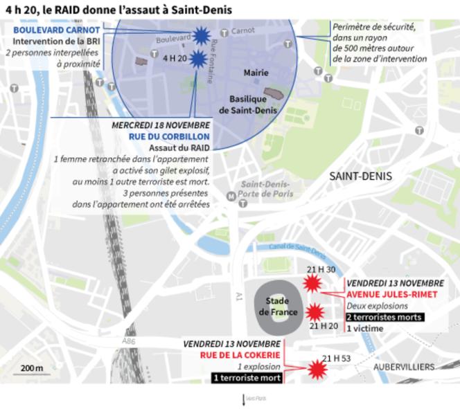 La carte de l'assaut à Saint-Denis, le 18 novembre.