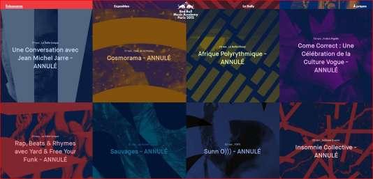 Capture d'écran d'une page d'informations du site Internet du festival de la Red Bull Music Academy.