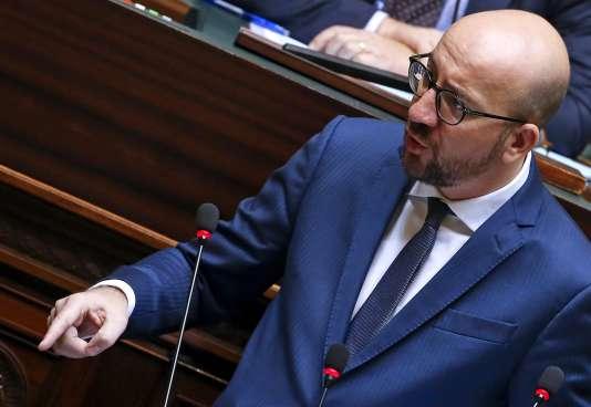 Le premier ministre belge,  Charles Michel, s'adresse à la Chambre des députés, le 19 novembre, à Bruxelles.