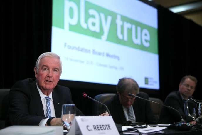 Sir Craig Reedie, président de l'AMA, lors de la réunion du conseil de fondation de l'AMA à Colorado Springs.
