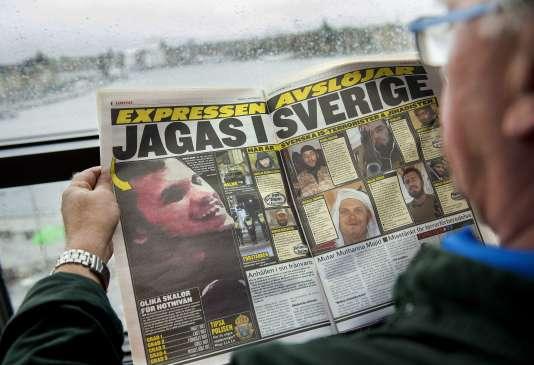 """Dans le tabloïd """"Expressen"""", la photo d'un Irakien soupçonné de préparer des attentats en Suède, le 19 novembre."""