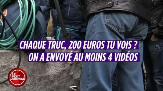 Capture d'écran d'un reportage du Petit Journal  sur les ventes de vidéos amateur de l'assaut de la police à Saint-Denis, mercredi 18 novembre
