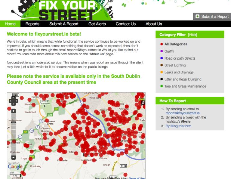 Page d'accueil du site géolocalisant les plaintes et demandes non urgentes issues des citoyens irlandais.