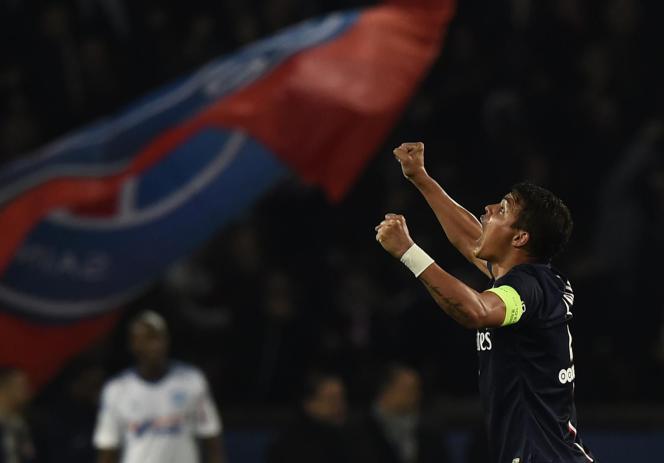 Le joueur du PSG, le défenseur brésilien Thiago Silva (Photo: Paris Saint-Germain-Olympique de Marseille, novembre 2014).