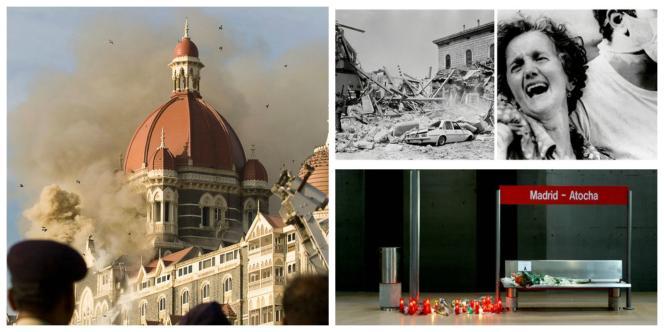 Le 27 novembre 2008, une attaque touche le Taj Mahal Palace à Mumbai (Bloomberg / Bloomberg via Getty Images).  Bologne, le 2 août 1980, une partie de la gare centrale est soufflée par une explosion : 85 morts. (VOLPE/SIPA. AFP). A la gare d'Atocha, à Madrid, des bougies en hommage aux victimes des attentats du 11 mars 2004 (Reuters).