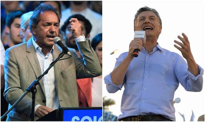 A gauche, Daniel Scioli candidat de Cristina Fernandez de Kirchner, et à droite Mauricio Macri, candidat de Cambiemos.