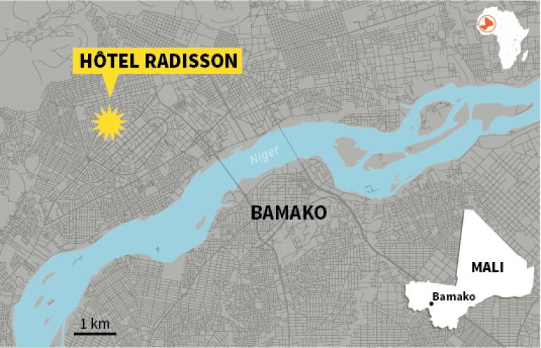 Une prise d'otages était en cours, le 20novembre, à l'hôtel Radisson de Bamako, dans le centre de la capitale du Mali.