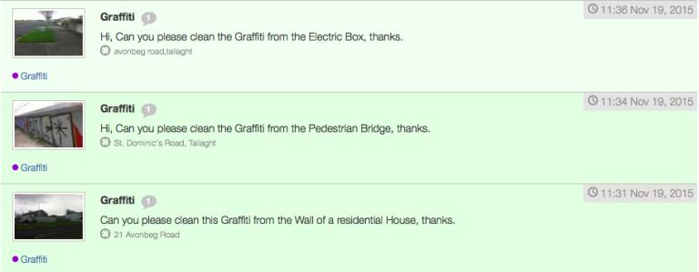 Exemple de rapports envoyés, jeudi 19 novembre, sur la plate-forme fixyourstreet.ie pour demander de supprimer des graffitis.