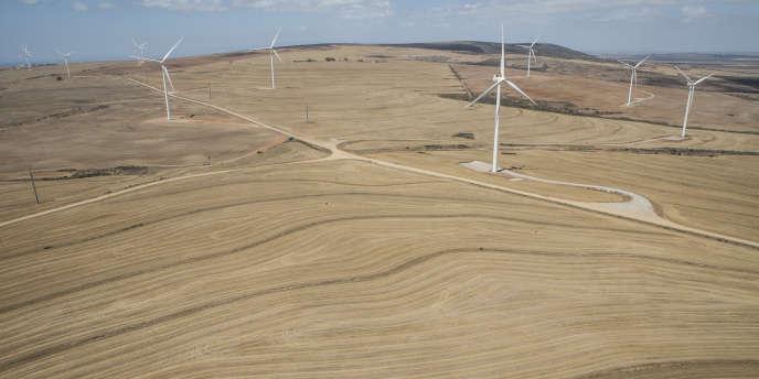 Une ferme éolienne à Vredenburg, au nord du Cap, sur la côte occidentale de l'Afrique du Sud.