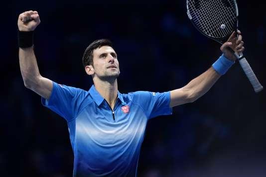 Novak Djokovic, après sa victoire sur Rafael Nadal en demi-finale du Masters, le 21 novembre 2015.