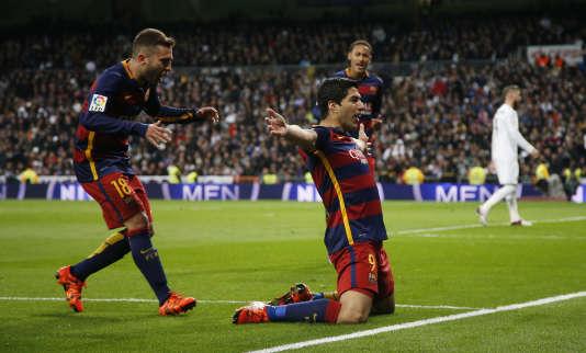 L'Uruguayen Luis Suarez a inscrit un doublé face à Madrid, le 21 novembre 2015.