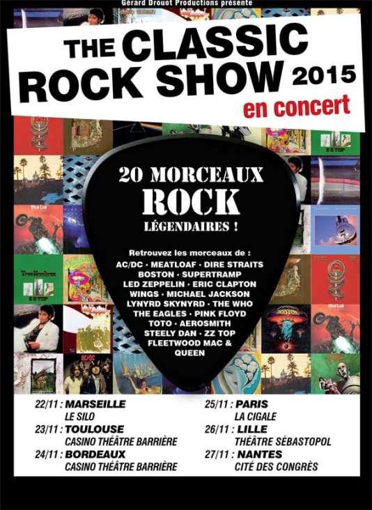 L'affiche de la tournée française de The Classic Rock Show.