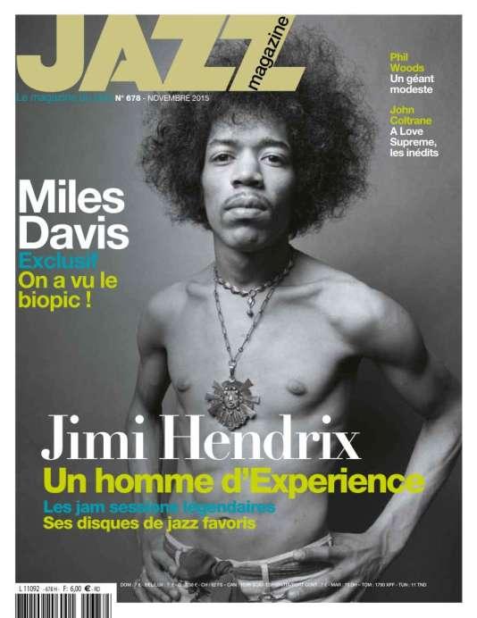 En couverture de  « Jazz magazine », n° 678, novembre 2015, Jimi Hendrix. La revue mensuelle précise dans son sommaire: « photographié par Donald Silverstein (merci à Lisa Silverstein et à La Galerie Stardust).