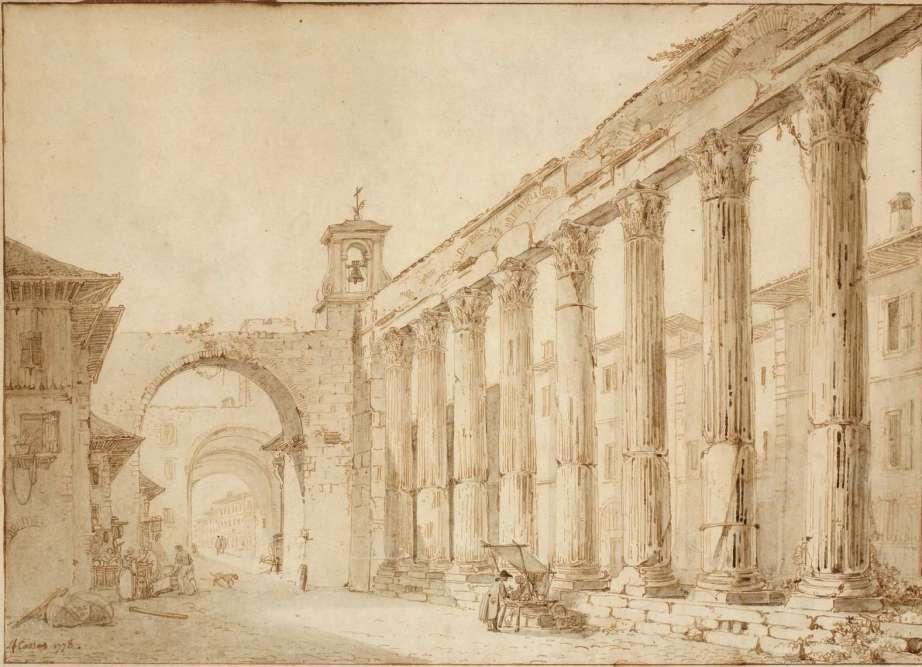 « Après avoir traversé les Alpes par la route du Mont-Cenis à la fin de l'été 1778, Cassas découvre à Milan le portique monumental de San Lorenzo. Eclairée par une intense lumière, l'architecture antique et moderne sert d'écrin aux scènes de la vie quotidienne représentées. »