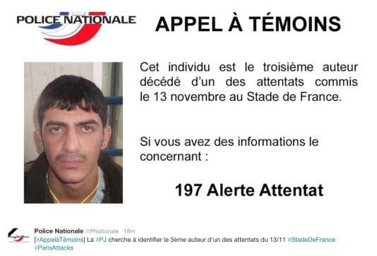 Appel à témoins lancé le 22 novembre pour identifier le troisième kamikaze du Stade de France.