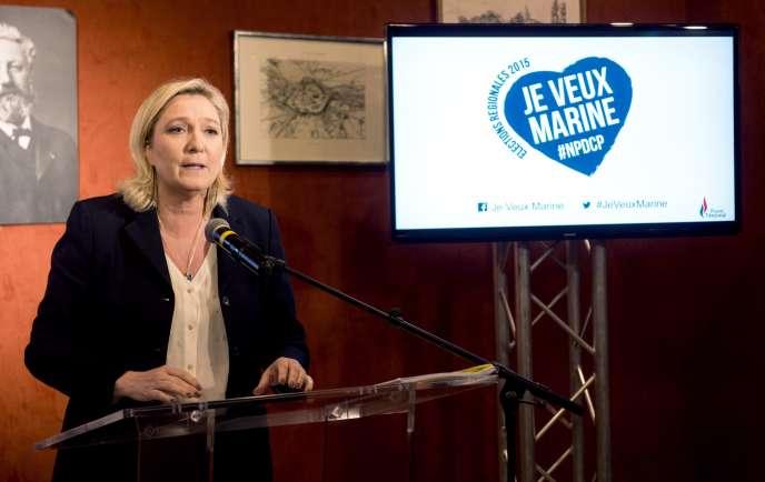 Marine Le Pen lors d'un discours à Amiens, le 23 novembre 2015.
