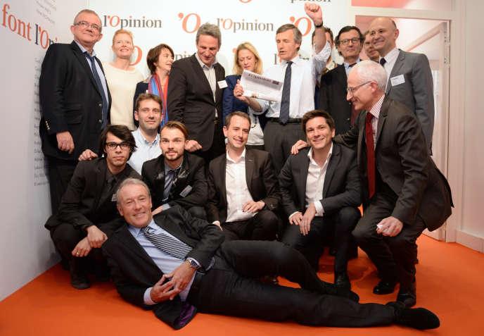 Nicolas Beytout et son équipe posent pour le lancement de «L'Opinion», en2013.