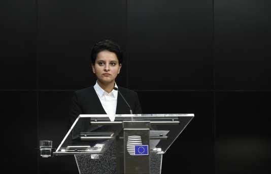 La ministre de l'éducation, Najat Vallaud-Belkacem, pendant le conseil éducation, jeunesse, culture et sport à Bruxelles, le 23 novembre 2015.