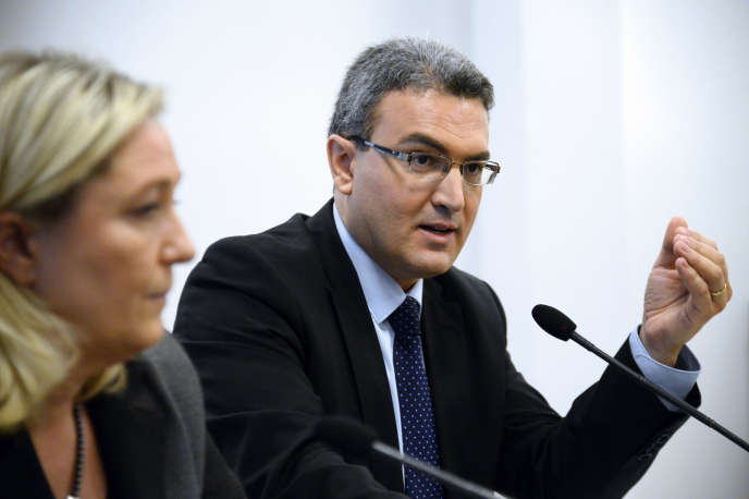 Aymeric Chauprade et Marine Le Pen à Paris en janvier 2014.