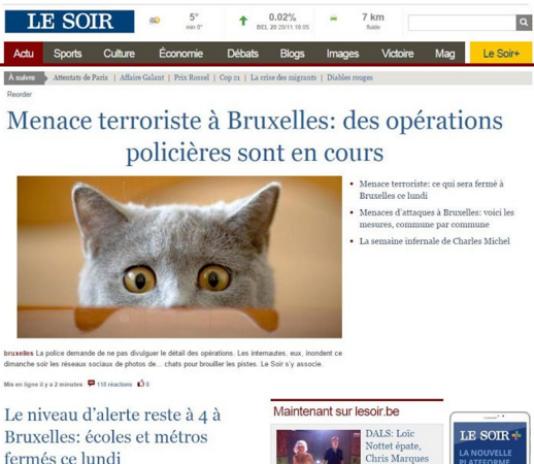 """Capture d'un tweet du quotidien belge """"Le Soir"""", dimanche 22 novembre au soir."""