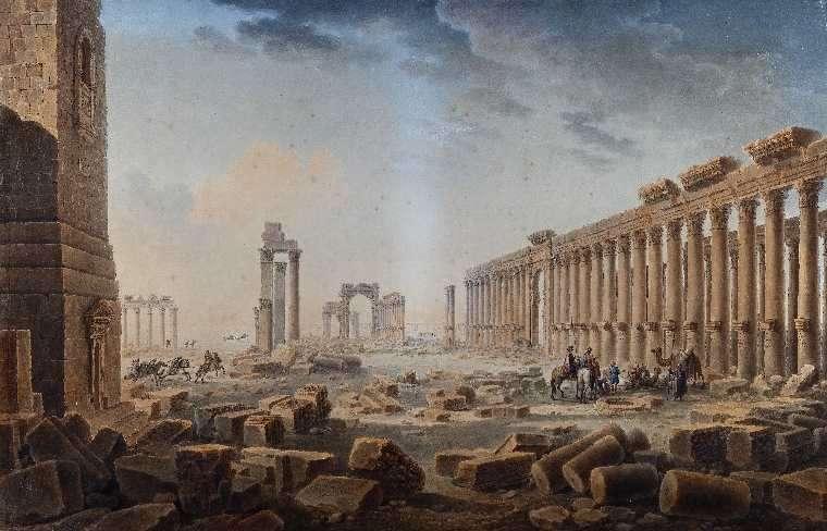 « En juin 1785, Cassas séjourne longuement sur le site de Palmyre pour dessiner et mesurer les ruines. Jusqu'à la fin de sa carrière, l'artiste reste profondément attaché à ce paysage du désert de Syrie hérissé de colonnes. »