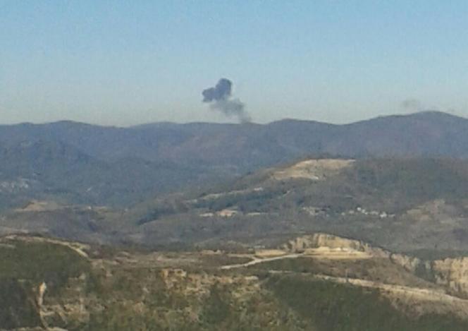 Dans les montagnes du Nord syrien peu après la destruction de l'avion russe par deux chasseurs turcs, le 24 novembre.