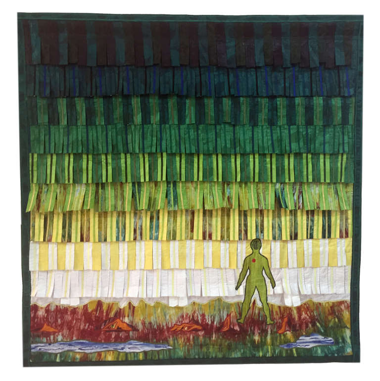 "Oeuvre d'Abdoulaye Konaté (Mali) intitulée ""L'Homme Nature""."