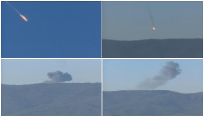 Captures d'une vidéo montrant la chute de l'avion russe, le 24 novembre.