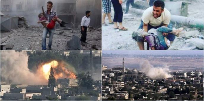 Sur les réseaux, de nombreuses personnes ont partagé une série de clichés montrant cadavres et dévastation, en expliquant qu'il s'agissait de Rakka, fief de l'Etat islamique frappé par les bombardements français lundi 16 novembre. Ce qui est faux.