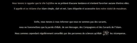 """Sadijine.com se présente comme un site """"sans étiquette ni accessoire"""", mais diffuse le dogme salafiste."""
