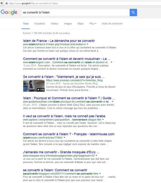 """Sur Google, cinq des six premiers résultats à la requête """"se convertir à l'islam"""" renvoient vers des sites d'obédience salafiste."""