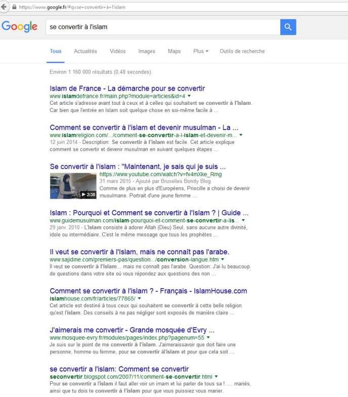 Sur Google, cinq des six premiers résultats à la requête