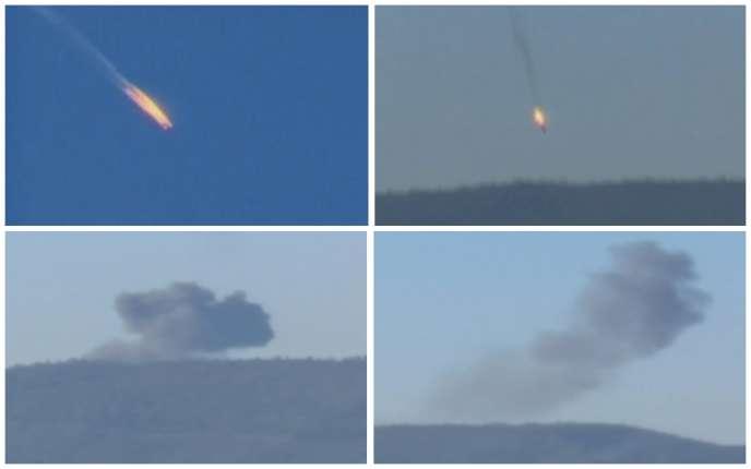 Captures d'écran de vidéos montrant le crash du SU-24 russe touché par deux F-16 turcs, le 24 novembre 2015.