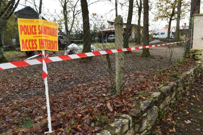 Zone sanitaire après la découverte du virus de la grippe aviaire en Dordogne.  AFP PHOTO / MEHDI FEDOUACH