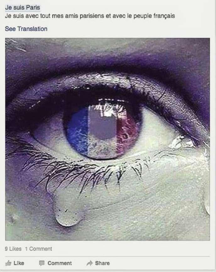 Messages de tristesse et de solidarité avec les victimes ont fleuri sur Facebook au lendemain des attentats.
