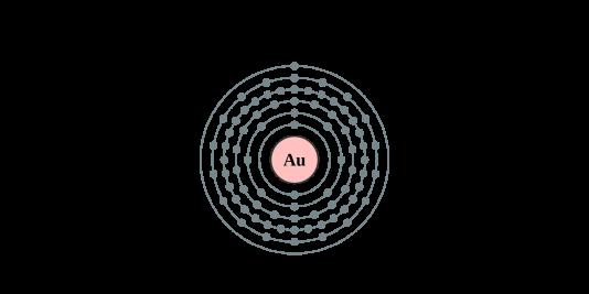 Modèle orbital de l'atome d'or et de ses 79 électrons.