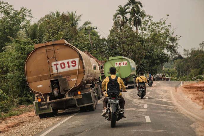 « Le biodiesel émet en moyenne 80% plus de gaz à effet de serre que le diesel qu'il remplace, qu'il soit produit avec des huiles végétales européennes, comme le colza français, ou importées de pays du Sud, comme l'huile de palme» (Photo: camions d'huile de palme, en Indonésie).