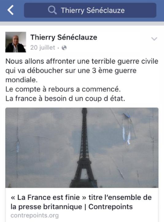 Message de Thierry Sénéclauze sur Facebook.