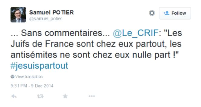 Message publié par Samuel Potier sur Twiter.