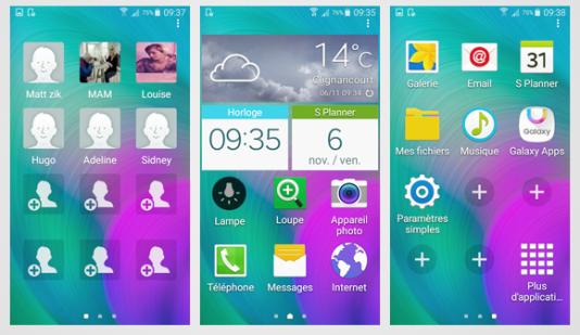 L'interface Android des téléphones Samsung.