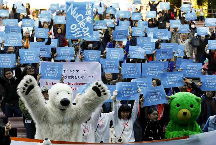 A Tokyo, au Japon, lors d'une manifestation dans le cadre de la Parade pour la Terre, le 28 novembre.