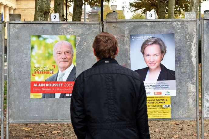En région Aquitaine-Limousin-Poitou-Charente, le socialiste Alain Rousset affronte la candidate des Républicains Virginie Calmels.