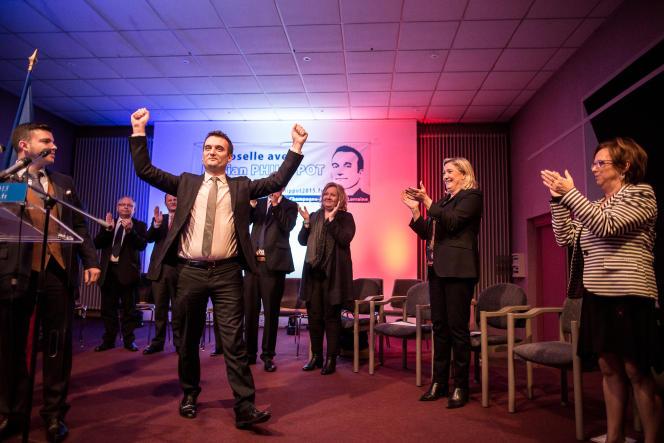 Florian Philippot et Marine Le Pen en meeting à Hayange (Moselle), le 25 novembre.