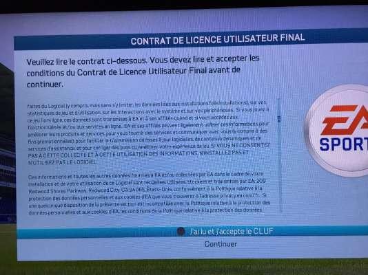 Impossible de lancer FIFA 16 sans préalablement accepter un contrat de licence indigeste et intrusif.