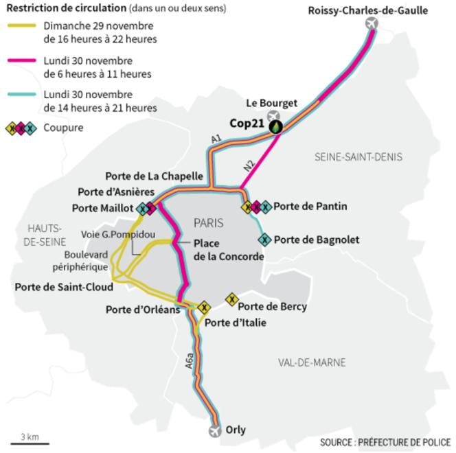 La circulation en Ile-de-France dimanche 29 et lundi 30 novembre, à l'ouverture de la COP21.