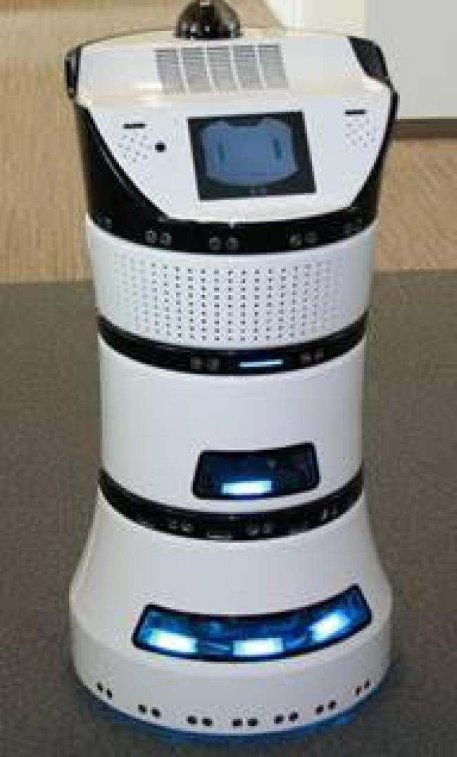 Le robot purificateur d'air Diya One, du français Partnering Robotics, qui filtre l'atmosphère en se déplaçant à l'intérieur des bâtiments.