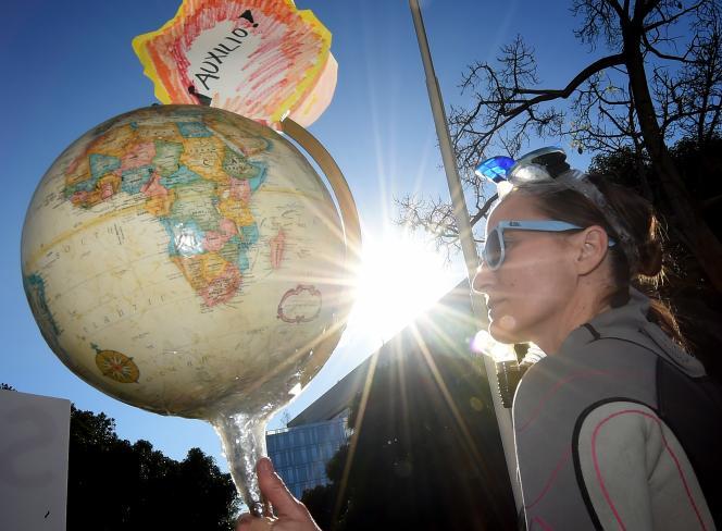 Rassemblement appelant à l'action contre le changement climatique à Los Angeles, enCalifornie, le 29 novembre 2015.