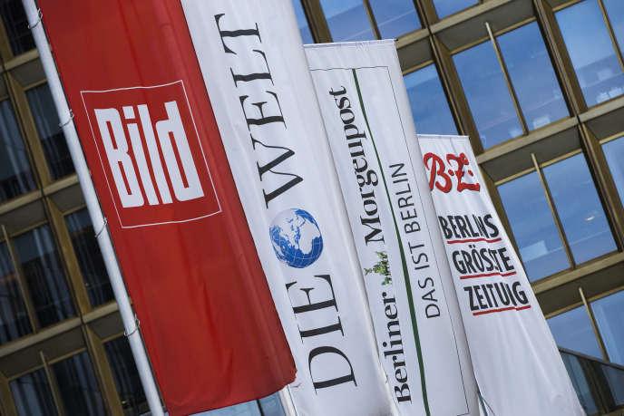 Devant le siège du groupe de médias allemands Axel Springer, à Berlin
